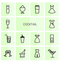 14 cocktail icons vector