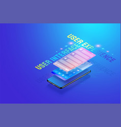 3d isometric mobile app ui ux design creating vector image