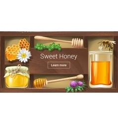A wooden rack with honey vector
