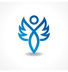 Abstract blue lady icon vector image