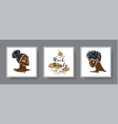 afro girl african woman face line art wall decor vector image