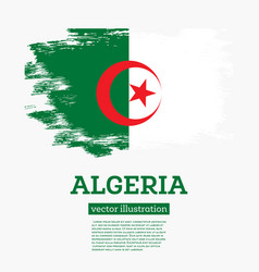 Algeria flag with brush strokes independence day vector