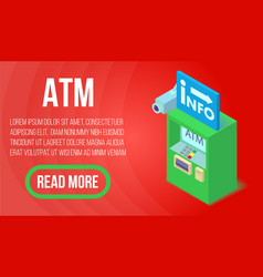 atm concept banner isometric style vector image