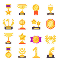 awards icons trophy medal prize with ribbons vector image