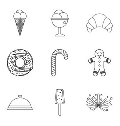 Baby food icons set outline style vector