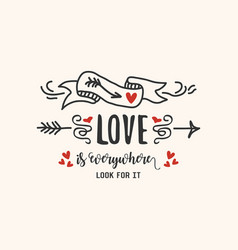 black and red abstract hand drawn love emblem vector image