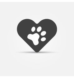 Black pet paw in heart icon vector image