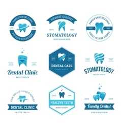 Blue dental labels vector
