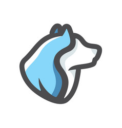blue dog head icon cartoon vector image