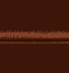 Brown unending landscape with mystic dark cave vector