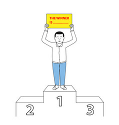 businessman standing on winner podium vector image