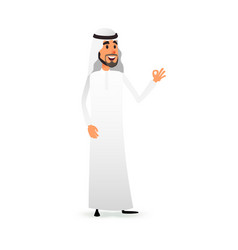 cartoon arab man arabic businessman flat vector image
