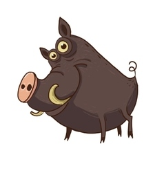 Cartoon funny warthog vector image