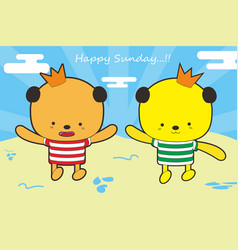 Cartoon happy sunday in beach vector