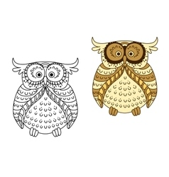 Cartoon yellow owl with brown striped wings vector