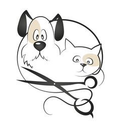 cat and dog haircut vector image