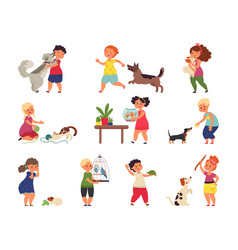children and pets characters cartoon friends vector image