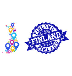 Collage map of finland with map pins and textured vector