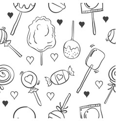 Collection of various candy doodle style vector
