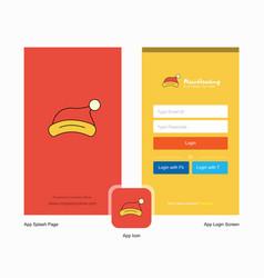 Company santa clause cap splash screen and login vector