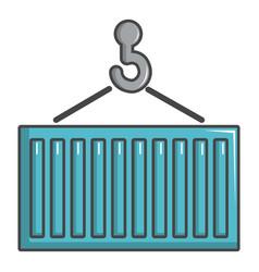 Crane lift a container icon cartoon style vector