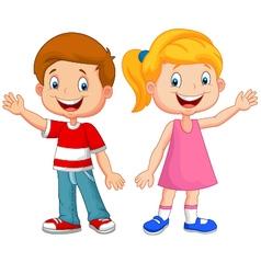 Cute children waving hand vector