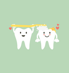 Cute couple tooth are brushing teeth with heart vector