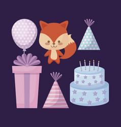 cute fox and set icons party vector image