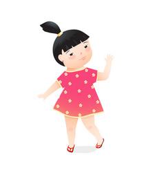 cute joyful kindergarten preschooler girl gesture vector image