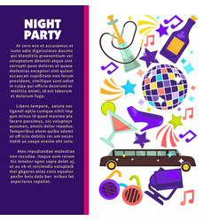 dance club night party disco ball and limousine vector image
