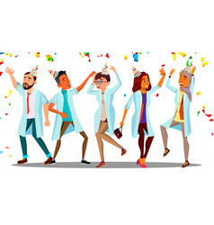 dancing doctor on doctor s day group of happy vector image