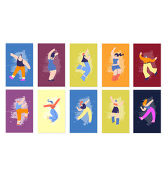 dancing happy disco people flat fest cards set vector image