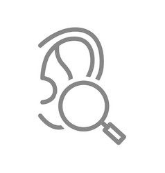 Ear with magnifying glass line icon organ vector