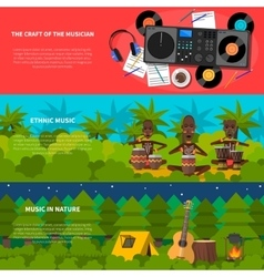 Ethnic Music Flat Horizontal Banners Set vector
