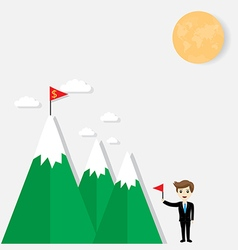 Flag on mountain success vector