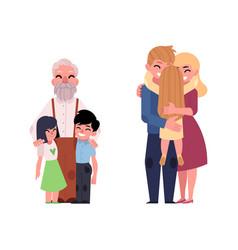 flat family characters hugging set vector image