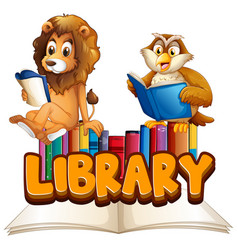 Font design for word library with animals reading vector