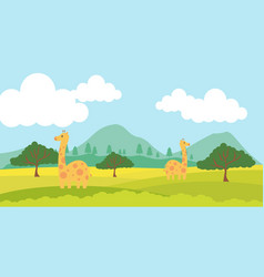 Giraffe cute animals in cartoon style wild animal vector
