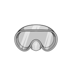 Goggles for diving icon black monochrome style vector image