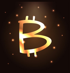 golden bitcoin icon bitcoin cryptocurrency vector image