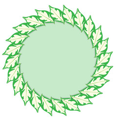 Green caricature plant leaves frame on white vector