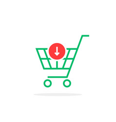 green thin line simple shopping cart with add vector image