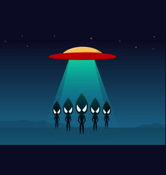 Group of alien arrived on earth by ufo art vector