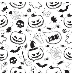halloween black and white seamless pattern with vector image