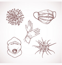 hand drawn corona virus set vector image