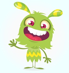 Happy cartoon green and fluffy monster vector