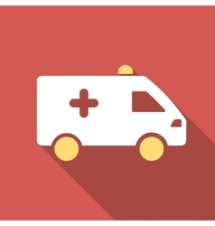 Hospital Car Flat Square Icon with Long Shadow vector