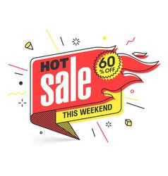 hot sale banner template in flat trendy memphis vector image