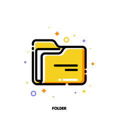 Icon of folder with paper for office work concept vector
