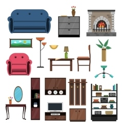 Interior Icons Flat Set vector image